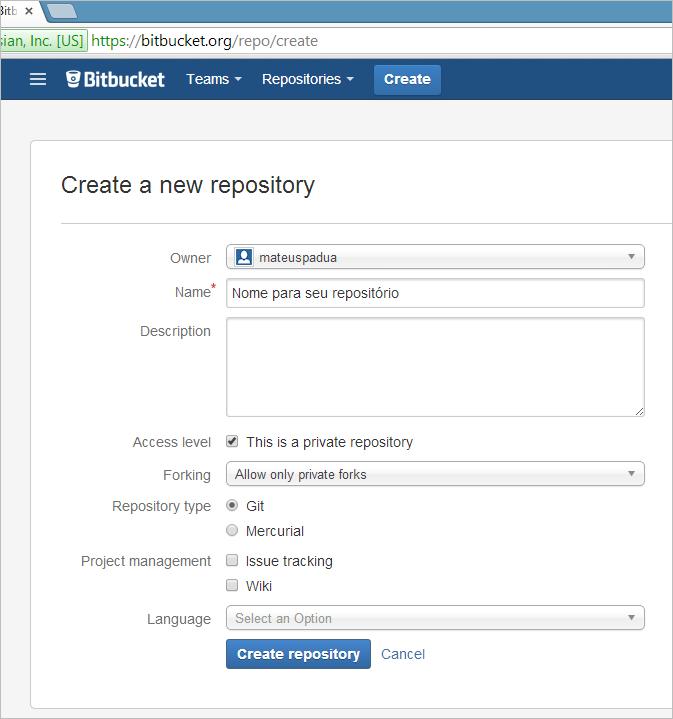 bitbucket criar repositorio
